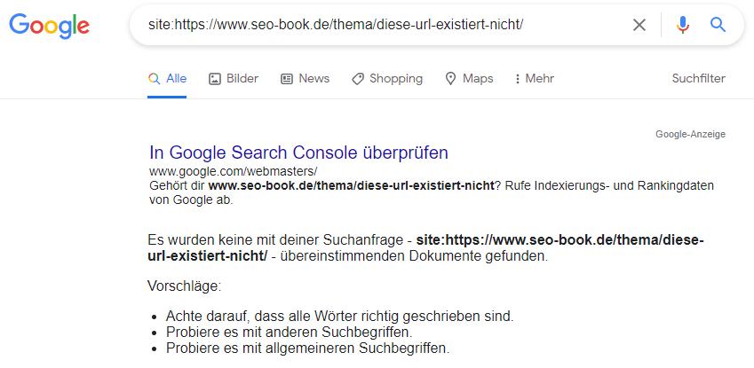 Ergebnis der site:-Abfrage, wenn die eingegebene bzw. gesuchte URL nicht gefunden werden konnte; d.h. die URL ist nicht indexiert
